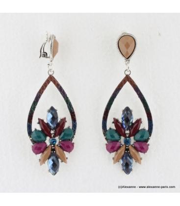 Boucles d'oreilles vintage à clips pierre et métal multi