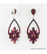 Boucles d'oreilles vintage à clips pierre et métal magenta