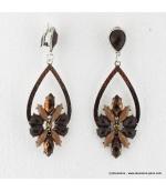 Boucles d'oreilles vintage à clips pierre et métal marron
