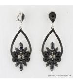 Boucles d'oreilles vintage à clips pierre et métal noir