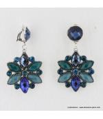Boucles d'oreilles vintage fleur à clips bleu