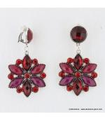 Boucles d'oreilles vintage fleur à clips rouge
