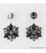 Boucles d'oreilles vintage fleur à clips noir