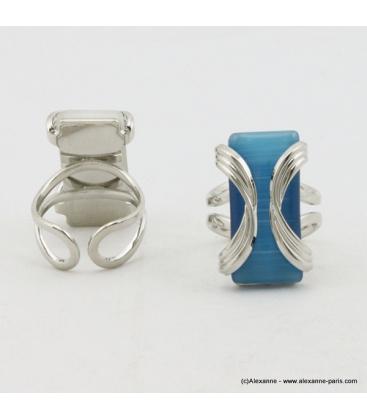 Bague rectangulaire oeil de chat métal bleu