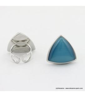 Bague triangle oeil de chat métal