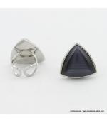 Bague triangle oeil de chat métal gris foncé