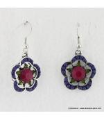 Boucles d'oreilles à fleurs vintage multi