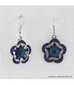 Boucles d'oreilles à fleurs vintage bleu