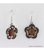 Boucles d'oreilles à fleurs vintage marron