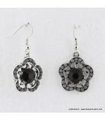 Boucles d'oreilles à fleurs vintage noir