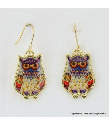 Boucles d'oreilles hibou vintage violet