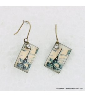 Boucles d'oreilles carte postale en métal et résine
