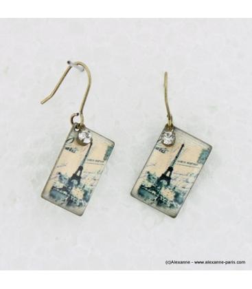 Boucles d'oreilles carte postale en métal et résine gris