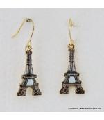 Boucles d'oreilles Tour Eiffel vintage marron foncé