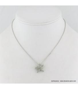 Collier étoile de mer en métal et strass