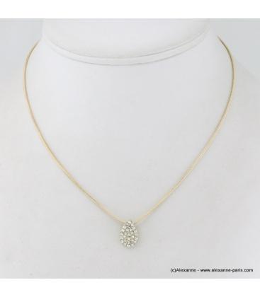 Collier pendentif foutte en métal et strass doré