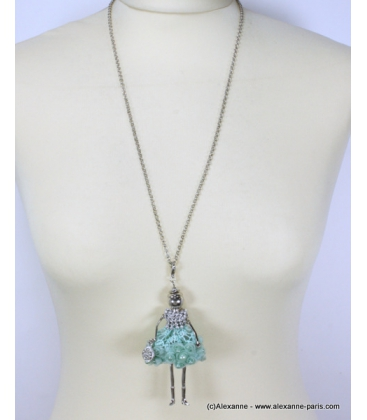 Sautoir poupée strass et métal turquoise