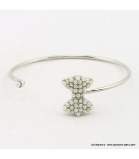Bracelet jonc noeud perle en acrylique et métal