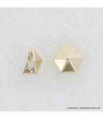 Boucles d'oreilles clips hexagone en métal