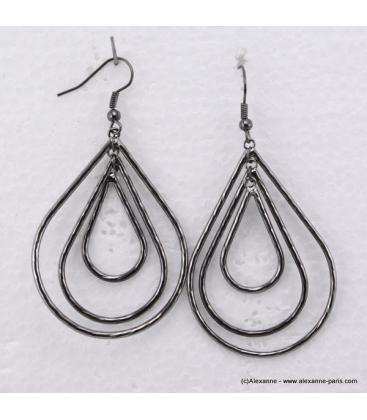 Boucles d'oreilles ovales en métal anthracite