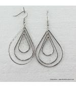 Boucles d'oreilles ovales en métal argenté