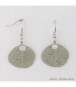 Boucles d'oreilles feuille en métal argenté