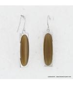 Boucles d'oreilles rectangulaire oeil de chat en métal et verre marron