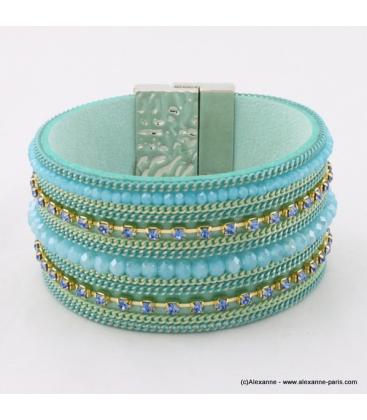 Bracelet Manchette aimanté en cuir synthétique, perle et strass bleu