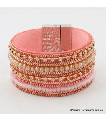 Bracelet Manchette aimanté en cuir synthétique, perle et strass