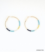 Boucles d'oreilles Créoles Julie Bleues