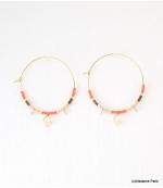 Boucles d'oreilles Créoles Marion Bleu Orange