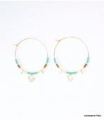 Boucles d'oreilles Créoles Marion Bleu Turquoise