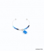 Bracelet Jonc Ouvrable Clémence Bleu