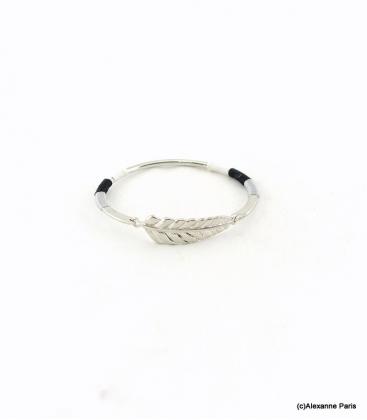 Bracelet Jonc Feuille Joyce Noir