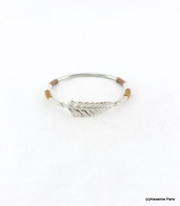 Bracelet Jonc Feuille Joyce Marron