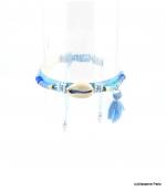 Bracelet Coquillage Macramé Morgane Bleu Ciel
