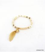 Bracelet Elastique Perles Aline Beige