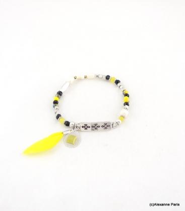 Bracelet Elastique Perles Aline Jaune