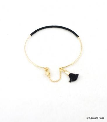 Bracelet Jonc Fermé Eva Noir