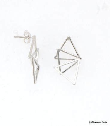 Boucles d'oreilles Triangles Laurine Argenté