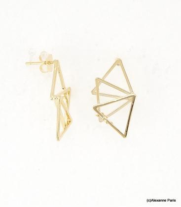 Boucles d'oreilles Triangles Laurine Doré