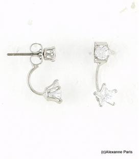 Boucles d'oreilles Dessous de Lobe Clotilde Argenté