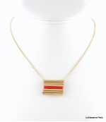 Collier Tubes Cyrielle Rouge Corail