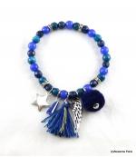 Bracelet Elastique Jade Bleu Foncé