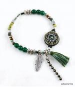 Bracelet Pompon Plume Ambre Vert