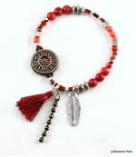 Bracelet Pompon Plume Ambre