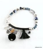 Bracelet Pompon Arbre Anne Noir