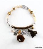 Bracelet Pompon Arbre Anne Marron