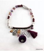 Bracelet Pompon Arbre Anne Violet
