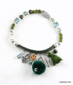 Bracelet Pompon Arbre Anne Vert